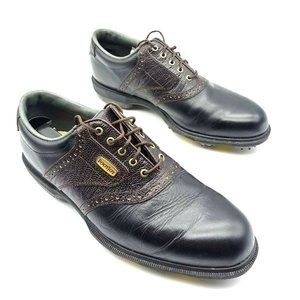 FootJoy Mens Golf Shoes Black Brown Lace Up Two